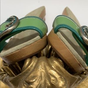 Prada Shoes - Prada Green Slip On Sandals with Accented Buckle